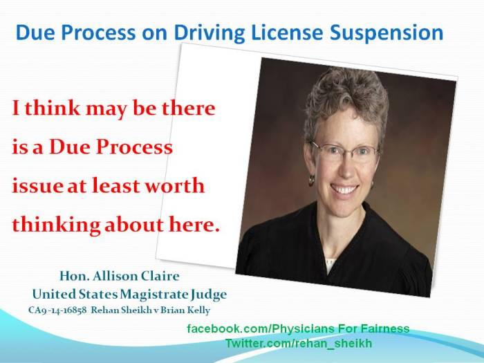 Alison Claire Due Process Issue